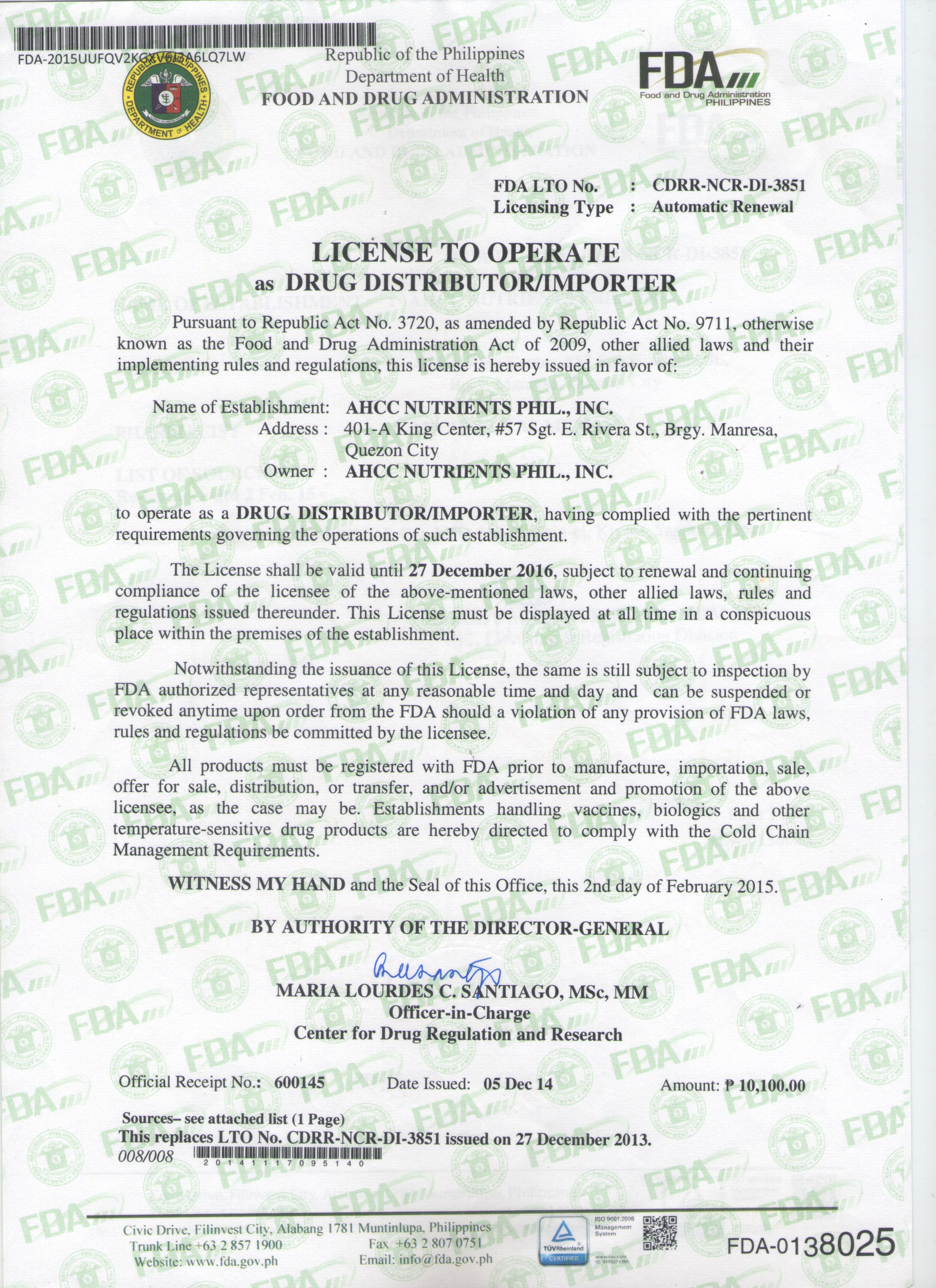 LTO - CDRR-NCR-DI - 3851 as Drug Distributor  Importer